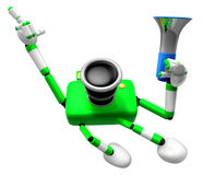 Der linke Handpunkt der Finger Ingenieur Green Camera Character. Stockfoto
