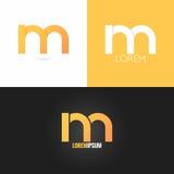 Der Logodesign-Ikone des Buchstaben M gesetzter Hintergrund Stockbilder