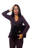 Der lokalisierte weiße Hintergrund der Frauengeschäftsfrau Konzept Lizenzfreies Stockfoto