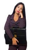 Der lokalisierte weiße Hintergrund der Frauengeschäftsfrau Konzept Lizenzfreie Stockbilder