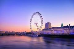 Der London-Augen-Sonnenaufgang Stockbilder