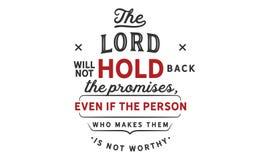 Der Lord wird nicht Hindernis die Versprechen lizenzfreie abbildung