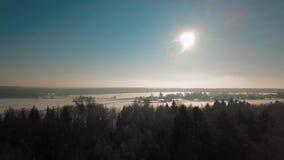 Der Luftschuß, der oben über überraschende Winterlandschaft mit Forest Park steigt, umgab durch Schnee stock video footage