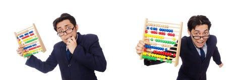 Der lustige Geschäftsmann mit dem Abakus lokalisiert auf dem Weiß Stockbild