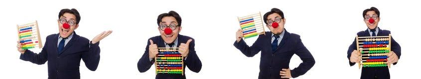 Der lustige Geschäftsmann mit dem Abakus lokalisiert auf dem Weiß Stockfotografie