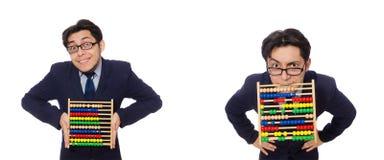 Der lustige Geschäftsmann mit dem Abakus lokalisiert auf dem Weiß Stockfoto