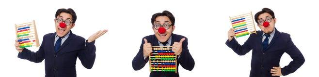 Der lustige Geschäftsmann mit dem Abakus lokalisiert auf dem Weiß Lizenzfreies Stockfoto