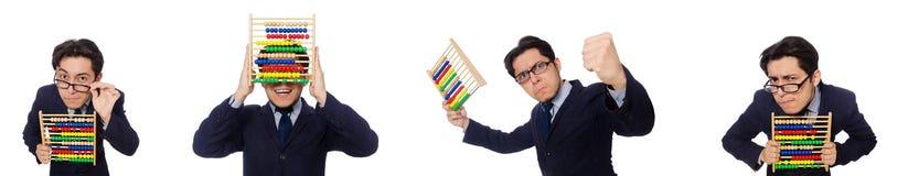 Der lustige Geschäftsmann mit dem Abakus lokalisiert auf dem Weiß Lizenzfreie Stockbilder