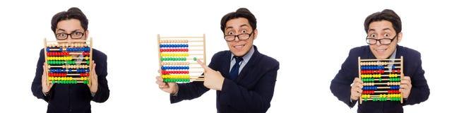Der lustige Geschäftsmann mit dem Abakus lokalisiert auf dem Weiß Lizenzfreies Stockbild