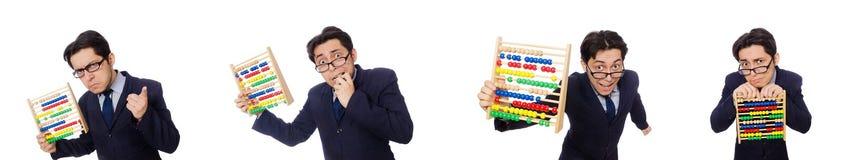 Der lustige Geschäftsmann mit dem Abakus lokalisiert auf dem Weiß Lizenzfreie Stockfotos