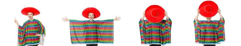Der lustige junge Mexikaner mit dem falschen Schnurrbart lokalisiert auf Weiß stockfoto