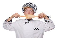 Der lustige Koch lokalisiert auf Weiß Stockfotografie