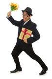 Der lustige Mann mit Blumen und giftbox Lizenzfreie Stockbilder