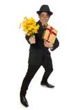 Der lustige Mann mit Blumen und giftbox Stockbilder