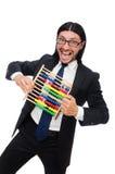 Der lustige Mann mit Taschenrechner und Abakus Lizenzfreie Stockbilder