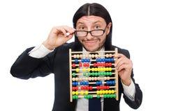 Der lustige Mann mit Taschenrechner und Abakus Lizenzfreie Stockfotos