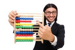 Der lustige Mann mit Taschenrechner und Abakus Lizenzfreies Stockfoto