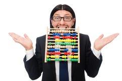 Der lustige Mann mit Taschenrechner und Abakus Stockbilder