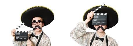 Der lustige Mexikaner mit Filmbrett stockfotografie