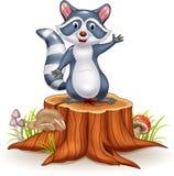 Der lustigen wellenartig bewegende Hand Waschbär-Karikatur der Karikatur auf Baumstumpf stock abbildung
