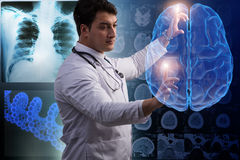 Der männliche Doktor mit dem Gehirn im medizinischen Konzept lizenzfreies stockbild