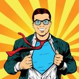 Der männlichen Retro- Vektorillustration Geschäftsmannpop-art des Superhelden vektor abbildung