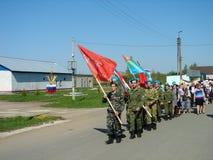Der März des unsterblichen Regiments in der Kaluga-Region Russland auf 9 kann 2016 Lizenzfreie Stockfotos