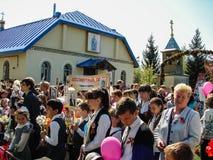 Der März des unsterblichen Regiments in der Kaluga-Region Russland auf 9 kann 2016 Lizenzfreies Stockbild
