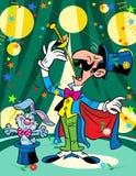Der Magier mit einem Kaninchen in einem Zirkus Stockfotos
