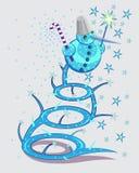 Der magische Schneemann macht Schnee stockfotos