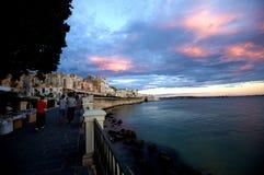 Der magische Sonnenuntergang von Ortigia, Siracusa, Sizilien Stockfotografie