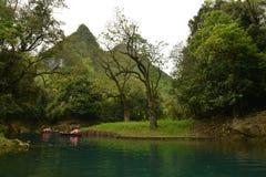 Der Mandarinen-Ducks See im kleinen Sieben-Loch Naturschutzgebiet Stockbilder