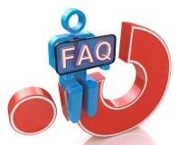 der Mann 3d, der auf rotem Fragezeichen sitzt, hält Wort-FAQ Stockfotos