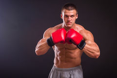 Der Mann in den Boxhandschuhen lizenzfreie stockbilder