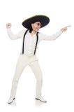 Der Mann, der den mexikanischen Sombrero lokalisiert auf Weiß trägt Lizenzfreie Stockbilder