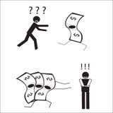 Der Mann, der Geld jagt stock abbildung