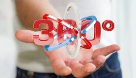 Der Mann, der 360 Grad 3D hält, übertragen Ikone in seinem Han Lizenzfreie Stockfotografie