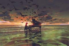 Der Mann, der Klavier unter Menge von Vögeln auf dem Strand spielt Stockfotografie
