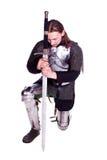 Der Mann in der Rüstung. Ritter. Stockfotos