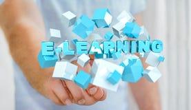 Der Mann, der sich hin- und herbewegendes 3D berührt, übertragen E-Learning-Darstellung mit Jungem Lizenzfreie Stockbilder