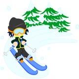 Der Mann, der Ski fährt Stockfoto