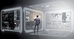 Der Mann, der virtuellen Knopf im Data - Mining-Konzept bedrängt Stockfotografie