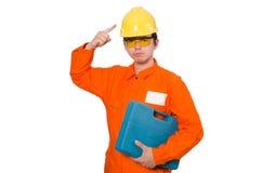 Der Mann im orange Overall auf Weiß Stockbild