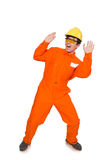 Der Mann im orange Overall lokalisiert auf Weiß Lizenzfreie Stockbilder