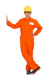 Der Mann im orange Overall lokalisiert auf Weiß Stockbild