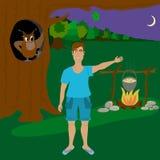 Der Mann im Wald nachts Stockfoto