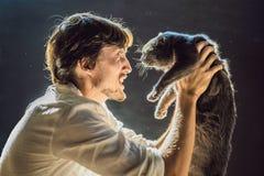 Der Mann ist zu einer Katze allergisch Ein Mann niest wegen der Tatsache, die nahe bei einem Haustier lizenzfreie stockbilder
