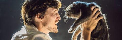Der Mann ist zu einer Katze allergisch Ein Mann niest wegen der Tatsache, die nahe bei einer Haustier FAHNE, LANGES FORMAT stockfoto