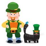 Der Mann mit Akkordeon und Katze Tag St Patrick s Stockfotografie