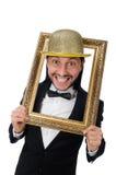 Der Mann mit dem Bilderrahmen lokalisiert auf Weiß lizenzfreies stockbild
